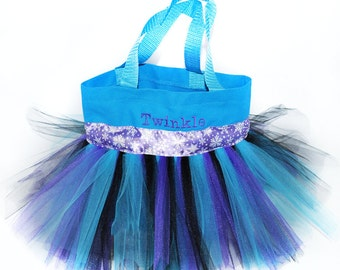 Party Favors Bag, Purple Snowflake Ribbon with Free Monogram Name Embroidered on The Bag.  Personalized Girl Dance Bag