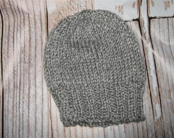 Baby Hat - 12 - 24 months Hand knit  grey tweed