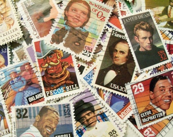 50 People Postage Stamps, Postage Stamps, Used Stamps, Famous People, Presidents, Actors, Musicians