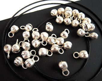 Tiny India Silver Bells for Crafts - Pack of 200 - Silver Finish Metal Gypsy Bells - Tribal Belly Dance Bells for Jewelry Making - L02