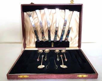 Beautiful Set of Six Silver Plate Enamel Handled Knives and Six Silver Plate Enamel Finial Teaspoons