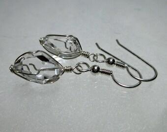 """ww1293 - 3/8""""+ Wirewrap HERKIMER DIAMOND EARRINGS - Argentium Sterling Silver"""