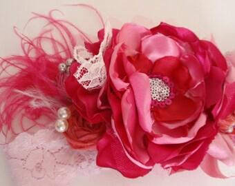 Valentine Headband, Hot Pink and Red Oversized Headband, Kids Hair Accessory, Valentine Hair Accessory, Photo Prop, Shabby Chic Headband