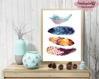 Feathers Wall Art, Bohemian Art Print, Feathers Print, Feathers Printable, Feather Artwork, Nursery Art, Tribal Wall Art, Tribal Wall Print