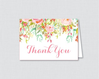 Printable Pink Floral Bridal Shower Thank You Card - Pink and Gold Flowers Garden Bridal Shower Thank You Card - Bridal Shower Thank 0004