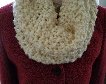Antique white infinity scarf