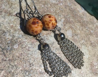 Earrings Picasso marbled beads with dangle chain earring