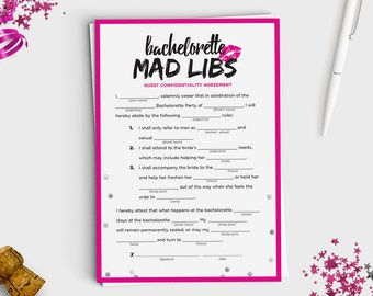 Fun Bachelorette Mad Libs Game - Instant Download - 5x7 Printable - Hot Pink & Silver Confetti Design
