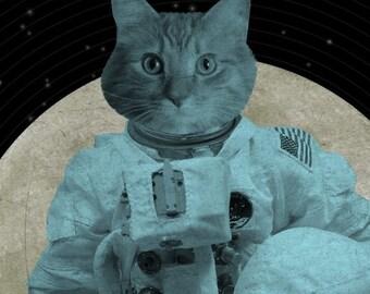 Astronaut  Cat - Space Cat - Astro Cat - 8x10 Art Print