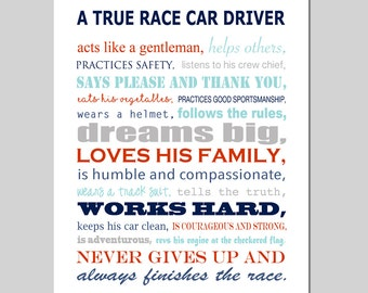 Race Car Nursery Art Race Car Pit Crew Nursery Decor Transportation Nursery Art - Boy Nursery Art Quote Race Car Quote - CHOOSE YOUR COLORS