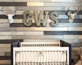 Metallic Wood Plank Wall   Accent Wall   Feature Wall   Nursery Decor   Nursery Art   Boys Bedroom   Girls Bedroom   Shiplap