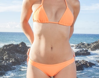 INDIE ATTIRE - String Bikini Top - Neon Orange
