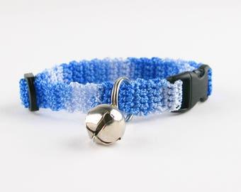 Cat Collar Crochet Blue Ombre Breakaway Collar Kitty Kitten