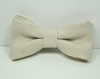 Boy's Bow tie, Natural Linen Bow tie, Linen Tie, Beige Bow Tie, Rustic Wedding Tie, Ring Bearer Bow Tie