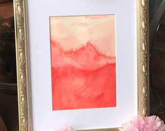 Red Watercolor Matted Print