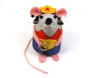 Wonder Woman Mouse - collectable gift for mothers day mom mum wife girlfriend best friend supermom artisan felt superhero rat mice hamster