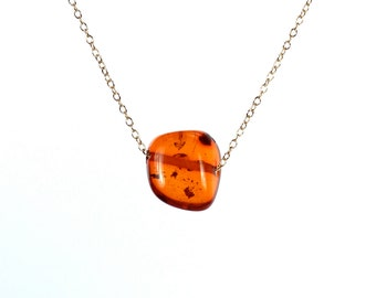 Baltic amber necklace - amber necklace - fossil necklace - sap necklace - healing amber - a drop of baltic amber on a 14k gold vermeil chain