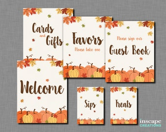Pumpkin Bridal Shower Table Signs Printable, Fall Bridal Shower Decor, 6 SIGNS, Rustic Bridal Shower, Welcome Sign, Favors Sign, Guest Book