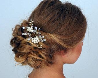 Bridal hair pins -Wedding hair pins - Pearl hair pins - Gold Crystal hair pins - Hair pins bridal -  Gold bridal hair pins -Hair pin wedding