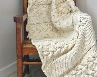 Fisherman White Cable Braid Hand Knit Wool Blanket, Cable Knit Acrylic Afghan, Housewarming Gift