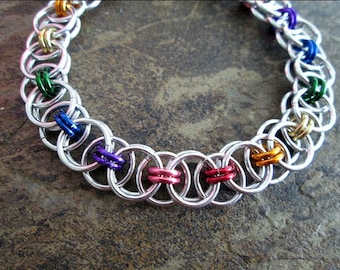 Chainmaille Bracelet - Rainbow Chainmaille - Helm Weave - Rainbow Bracelet - Pride Jewelry - Chainmail Jewelry