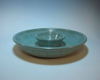 Chip n Dip Serving Dish Appetizer Veggie Tray Frosty Speckled Aqua - all-in-one piece