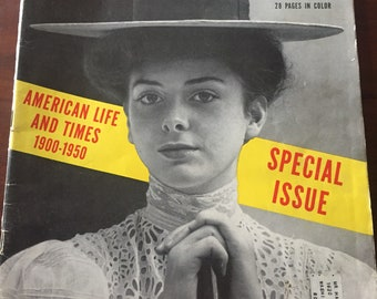 "50s Life Magazine January 2 1950 ""American Life and Times 1900-1950"" - ""Harry Wood"" - Free Shipping!"