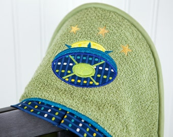 ufo applique hooded child towel beach pool bath towel many colors
