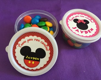 12 Personalized Mickey Mouse or Minnie Mouse Candy containers / candy cups with lids / party favors