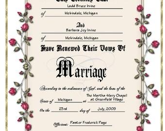 Keepsake Vow Renewal Certificate - Personalized or Blank