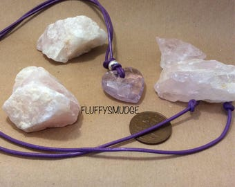 adjustable Large faceted amethyst heart on a purple leather cord & 925 sterling silver beads with adjustable sliding bead