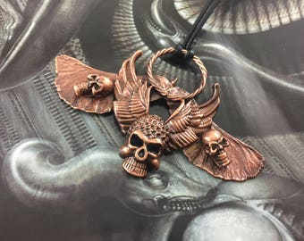 Maple Seed Warrior Skull Pendant - Antique Copper - Cat No 943