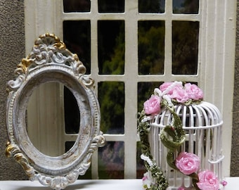 """""""Shabby Chic"""" 1/12 scale - Miniature bird cage style accessory of doll Miniature home decor"""