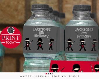 NINJA WATER BOTTLE Labels, Water Bottle Wrapper, Ninja Printable, instant download water bottle labels, Printable, Ninja Party, editable