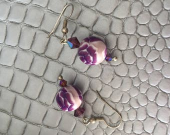 """Purple rose"" earrings"