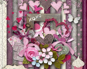 THE SWEETEST THING - Digital Scrapbooking Kit - 18 Pprs and 55 Plus Elmnts - -4.50