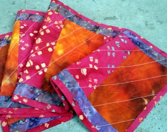 Von Hand gefärbt, Tischläufer, tief lila Läufer, Batik-Läufer, gesteppte Läufer