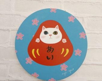 Sakura Druma Cat Ceramic Coaster