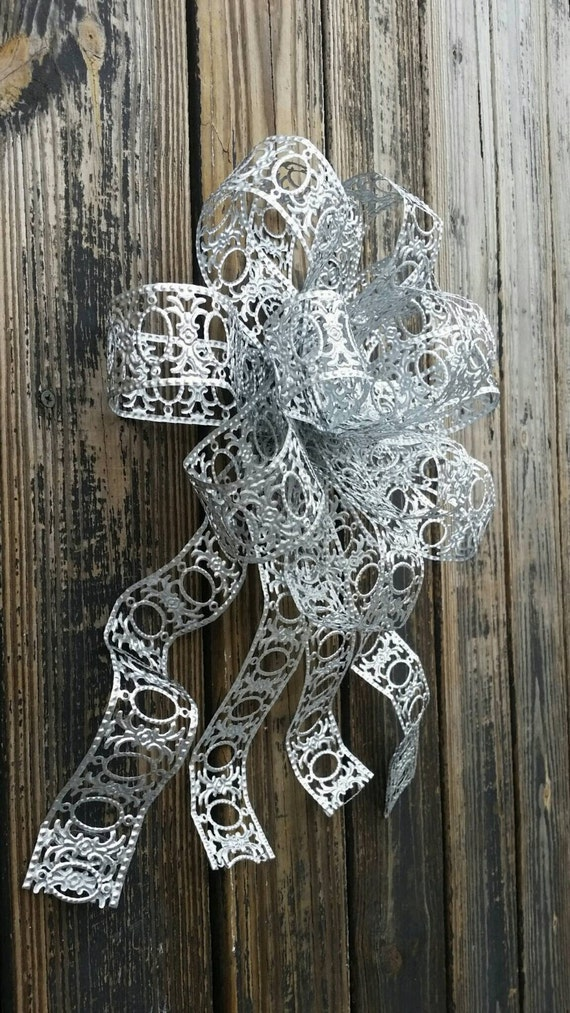 Bow, Silver Bow, Metal Bow, Wedding Bow, Christmas Bow, Holiday Bow