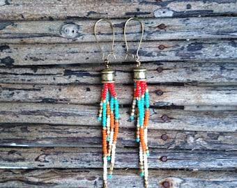 Long Beaded Earrings, Seed Bead Earrings, Boho Earrings, Boho Southwestern Earrings,  Tassel Seed Bead Earrings