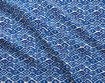 Watercolor Indigo Ikat Fabric - Island Blue Diamonds By Laurapol - Blue and White Geometric Cotton Fabric By The Yard With Spoonflower