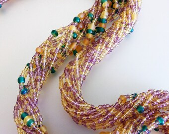 Vintage 1960's Multi Strand Pink Gold Blue Glass Seed Bead Twisted Necklace