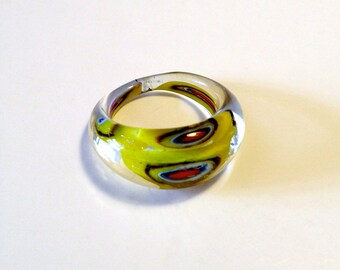 Retro Cocktail Ring - Yellow - Glass Rings - Vintage Jewelry for Women