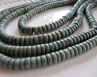 8mm WOOD Beads in Light Grey, Rondelle, 8mm x 4mm, 1 Strand 16 Inches, Approx 105 Beads, Dyed, Waxed, Wooden Beads, Flat Round