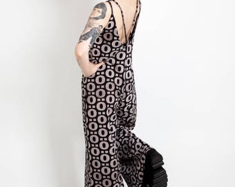 Bell Bottoms Jumpsuit Women with Geometric Print, Palazzo Pants Hippie Overalls, Sleeveless Strapy V neck Low back Jumpsuit, Boho Chic