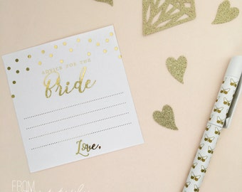 Gold foiled 'advice for the bride' cards / notes (Pk-20)