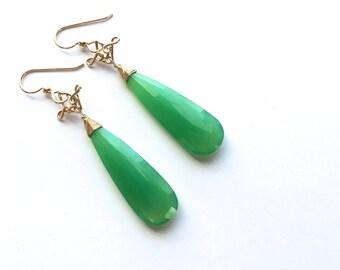 Salome - Chrysoprase Long 14k Gold Filled Earrings