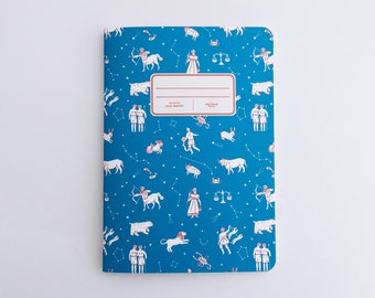 Constellations Notebook - Illustrated Journal - Handbound Sketchbook - Blank pages - Lined pages