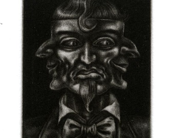 """Miniature Mezzotint Print - """"Smiling frm Ear to Ear"""" - sinister masked party-goer - original artwork by Nancy Farmer. Three-faced mask"""