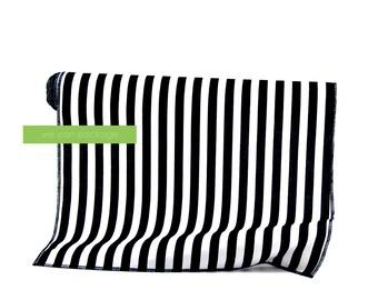 "Black White Striped Table Runner Cotton 14"" x 108"""
